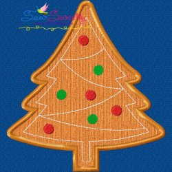 Gingerbread Christmas Tree Applique Design