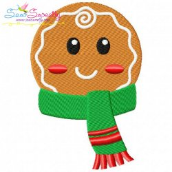 Gingerbread Face Boy Embroidery Design