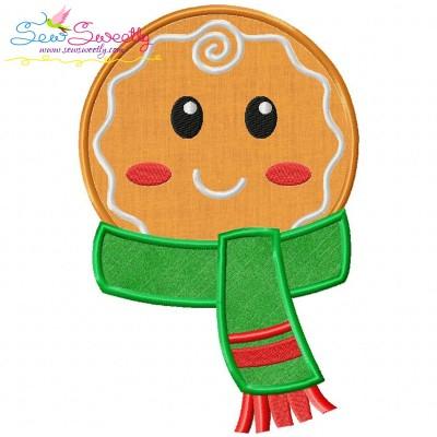 Gingerbread Face Boy Applique Design