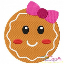 Gingerbread Face Girl Embroidery Design