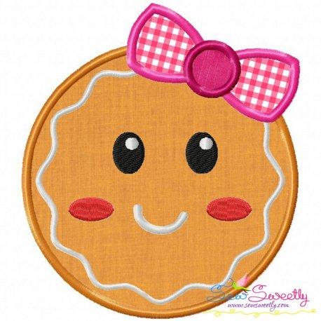 Gingerbread Face Girl Applique Design