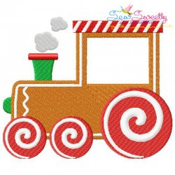 Gingerbread Train Embroidery Design