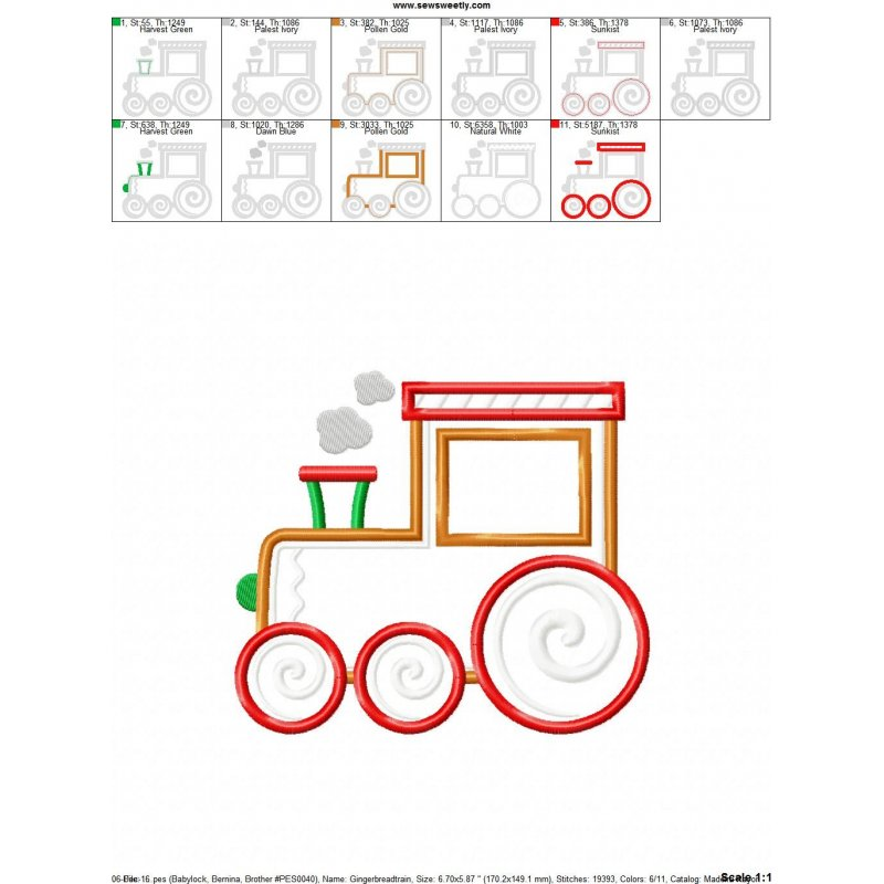 Gingerbread Train Machine Applique Embroidery Design