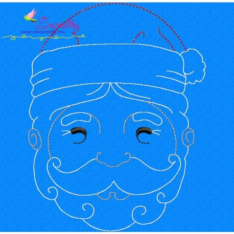 Bean Stitch Santa Face Embroidery Design
