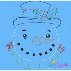 Bean Stitch Snowman Embroidery Design