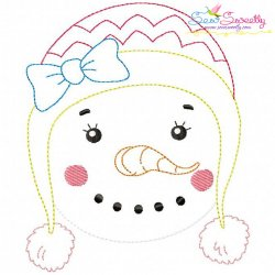 Bean Stitch Snowgirl Embroidery Design