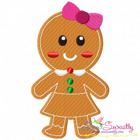 Gingerbread Girl Embroidery Design Pattern- Category- Christmas Designs- 1