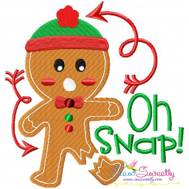 Gingerbread Oh Snap Machine Embroidery Design
