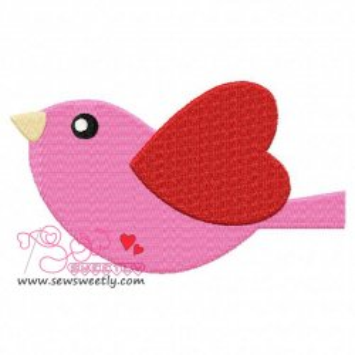 Pink Valentine Bird Embroidery Design