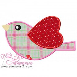 Pink Valentine Bird Applique Design