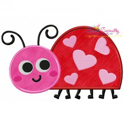 Free Valentine Ladybug Applique Design