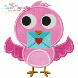 Valentine Little Bird Applique Design