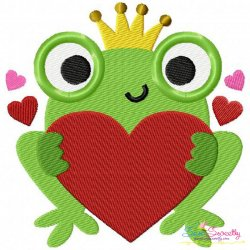 Valentine Frog Embroidery Design