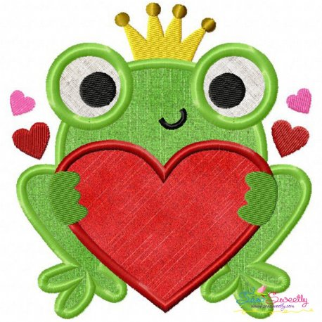 Valentine Frog Applique Design