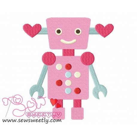 Lovely Robot-6 Embroidery Design Pattern- Category- Valentine's Day Designs- 1