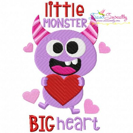 Little Valentine Monster Embroidery Design For Valentines Day