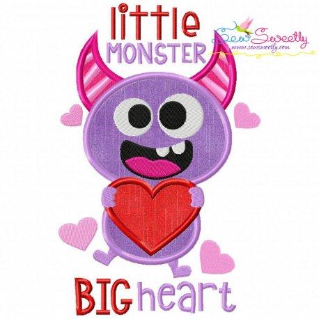 Little Valentine Monster Applique Design
