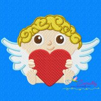 Cherub Baby With Heart Embroidery Design