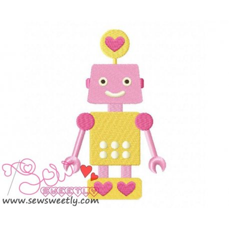 Lovely Robot-8 Embroidery Design Pattern- Category- Valentine's Day Designs- 1
