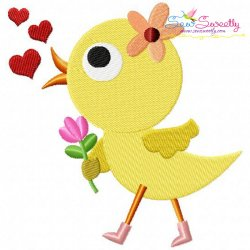 Cute Valentine Chick Embroidery Design