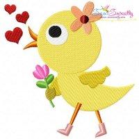 Cute Valentine Chick Embroidery Design