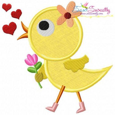 Cute Valentine Chick Applique Design