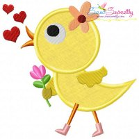 Cute Valentine Chick Applique Design