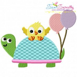 Turtle And Chick Embroidery Design