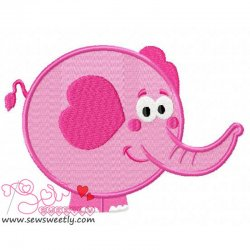 Pink Valentine Elephant Embroidery Design