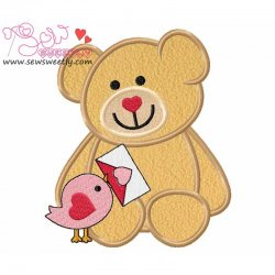 Valentine Teddy Bear 9 Applique Design