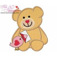 Valentine Teddy Bear 9 Applique Design