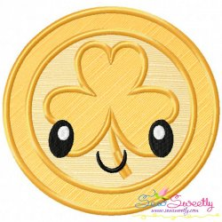 St.Patrick's Day Coin Kawaii Applique Design