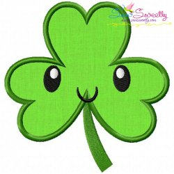 St.Patrick's Day Shamrock Kawaii Applique Design