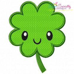 St.Patrick's Day Clover Kawaii Embroidery Design