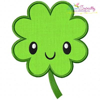 St.Patrick's Day Clover Kawaii Applique Design