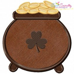 St.Patrick's Day Pot of Gold Applique Design