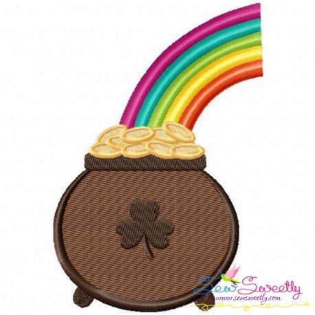 St.Patrick's Day Pot of Gold Rainbow Embroidery Design Pattern- Category- St. Patrick's Day Designs- 1