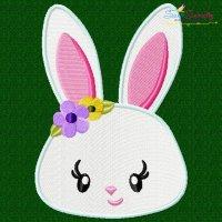 Easter Bunny Face Girl Embroidery Design