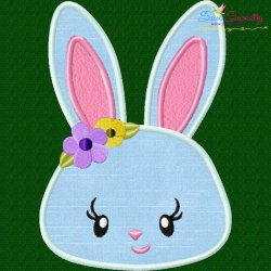 Easter Bunny Face Girl Applique Design