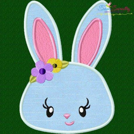 Easter Bunny Face Girl Applique Design