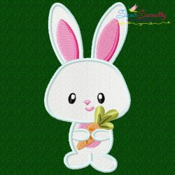 Easter Bunny Boy Carrot Embroidery Design