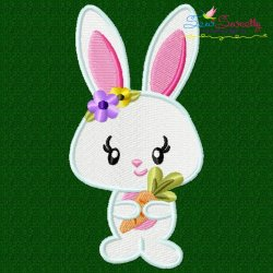 Easter Bunny Girl Carrot Embroidery Design