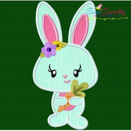 Easter Bunny Girl Carrot Applique Design