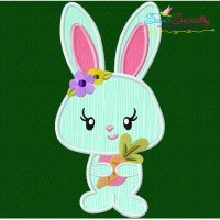 Easter Bunny Girl Carrot Applique Design