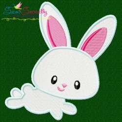 Easter Bunny Boy Jumping Embroidery Design