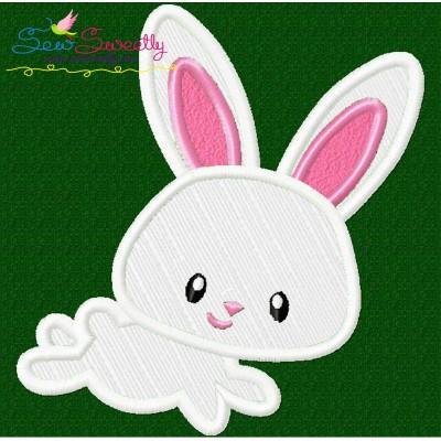 Easter Bunny Boy Jumping Applique Design