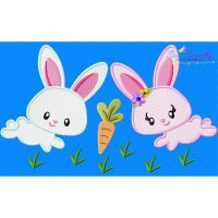 Easter Bunny Pair Carrot Embroidery Design