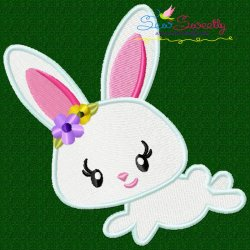 Easter Bunny Girl Jumping Embroidery Design
