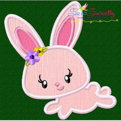 Easter Bunny Girl Jumping Applique Design