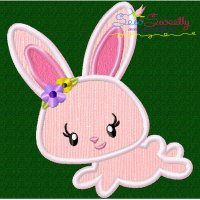 Easter Bunny Girl Jumping Applique Design